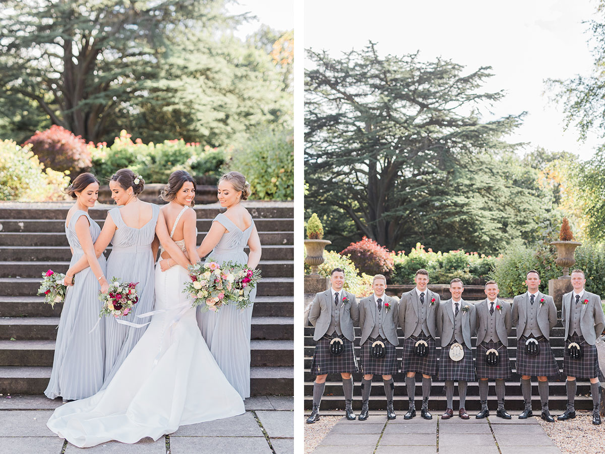 bride-with-bridesmaids-and-grooms-with-groomsmen-in-kilts