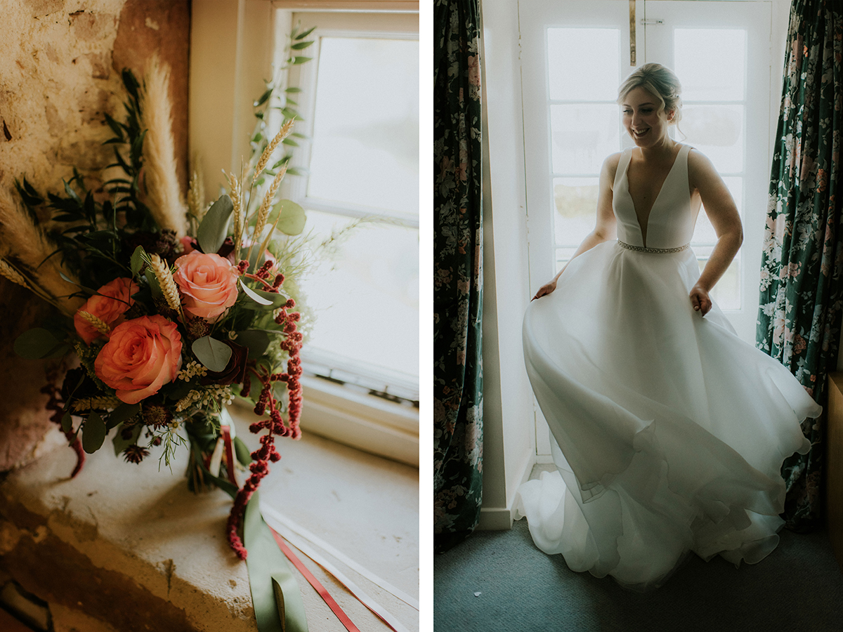 rustic-bouquet-and-bride-trying-on-dress