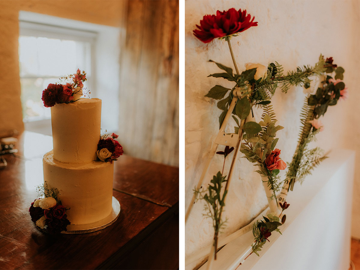 three-tier-wedding-cake-and-bike-part-covered-in-flowers