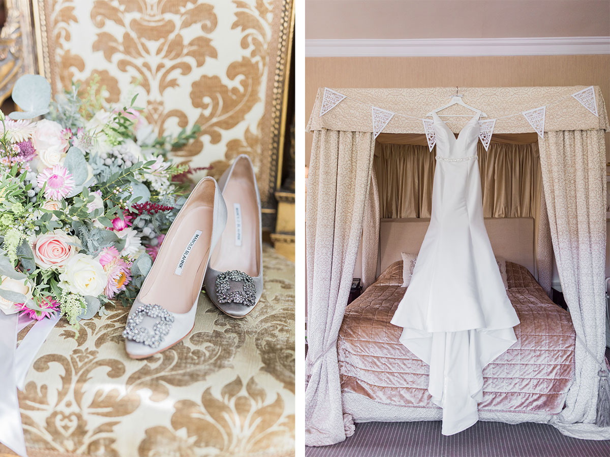 manolo-blahnik-shoes-and-pastel-bridal-bouquet-wedding-dress-hanging-on-four-poster-bed