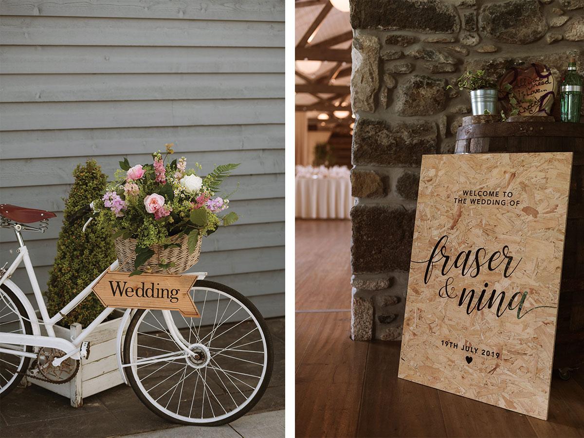 wedding-bike-and-signage-inside-venue