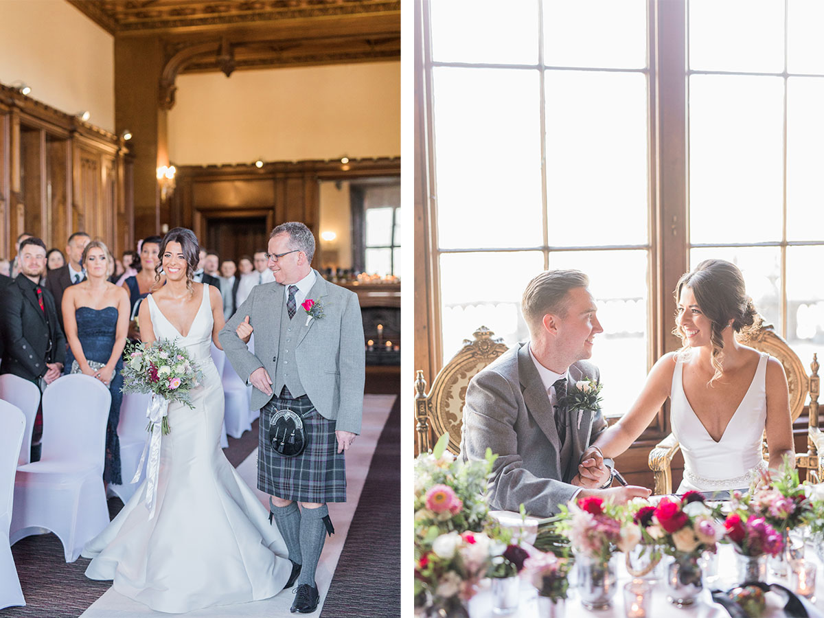 bride-and-father-of-the-bride-walking-up-the-aisle-couple-signing-the-register