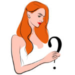 Illustration of a red-haired bride holding a question mark