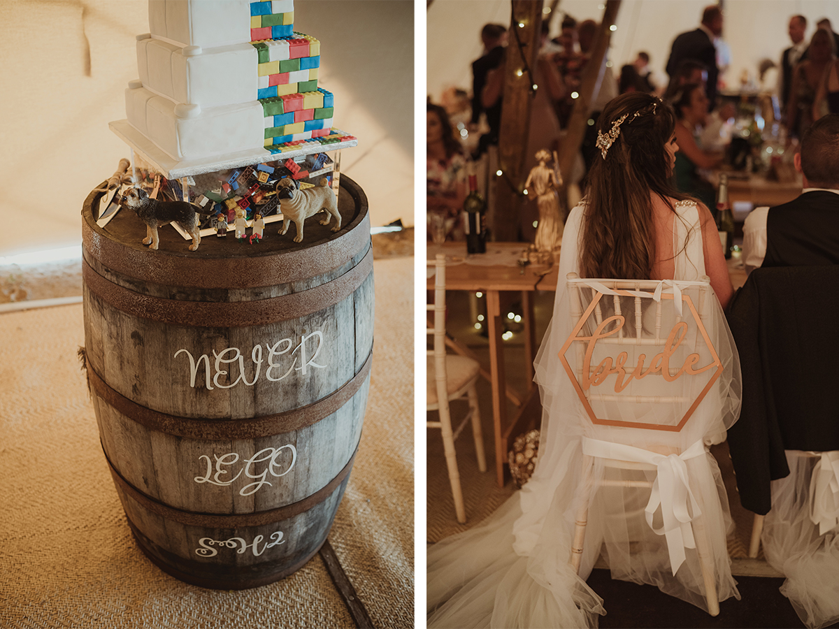 lego-cake-on-cask-and-bride-sign-on-chair