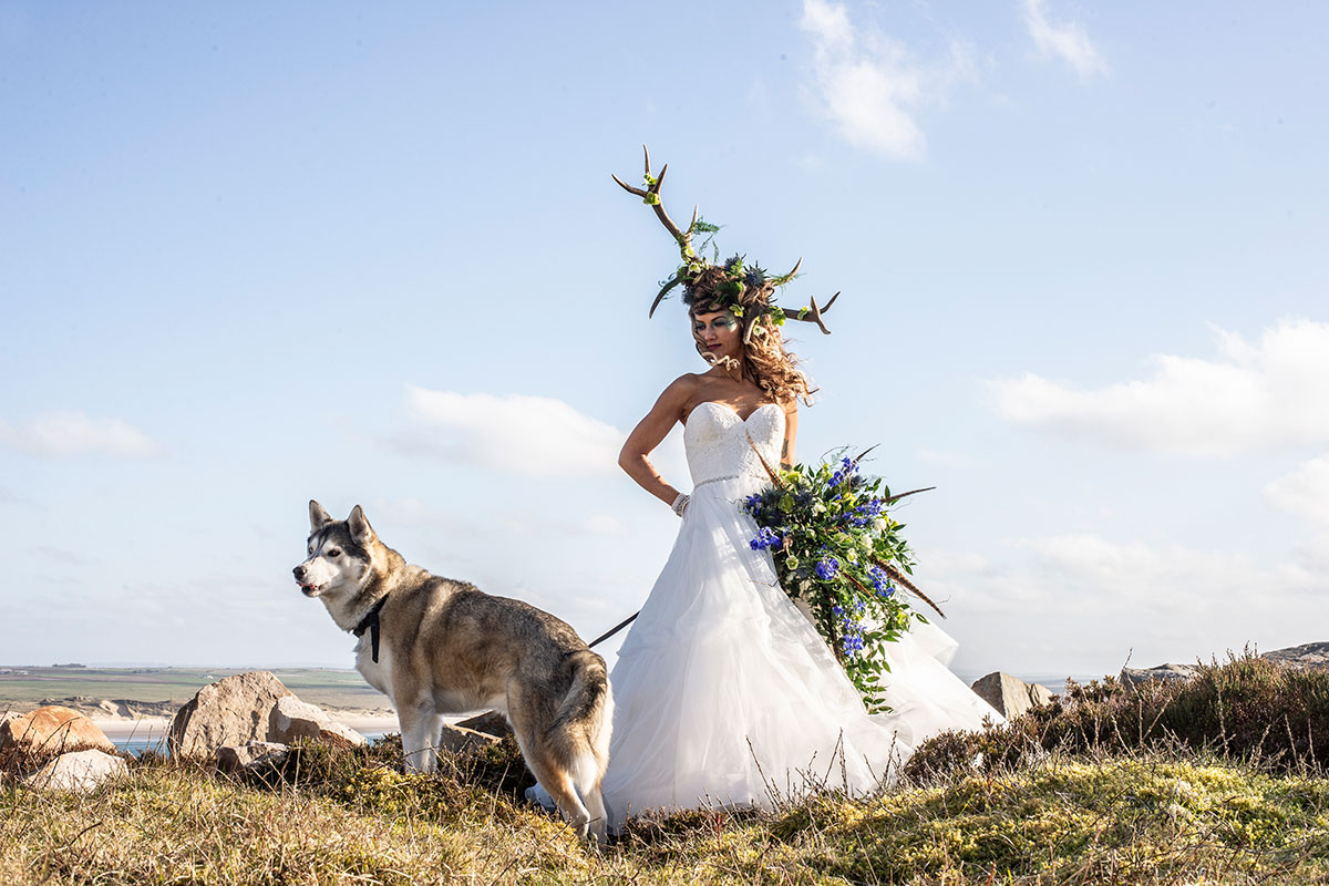 bride-with-big-dog-against-countryside-backdrop