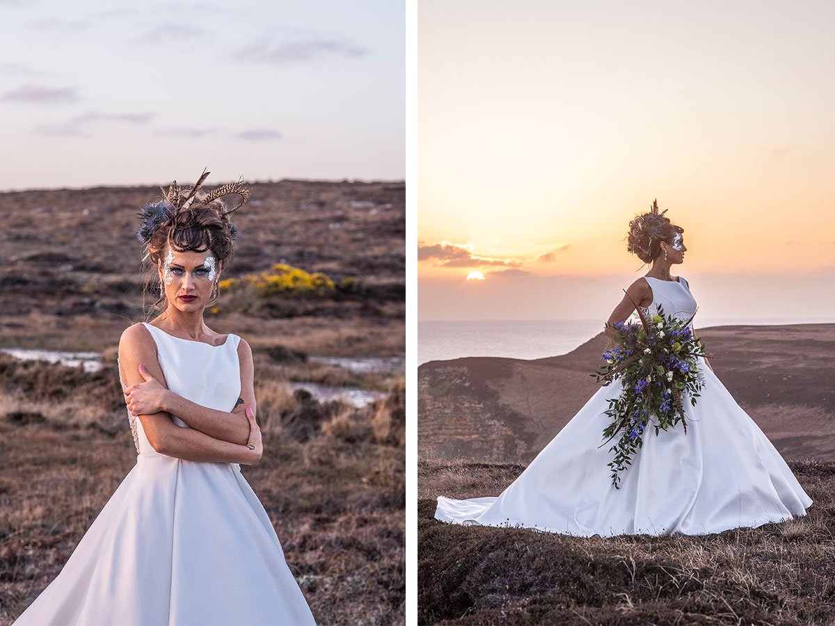 bride-standing-on-landscape-at-sunset