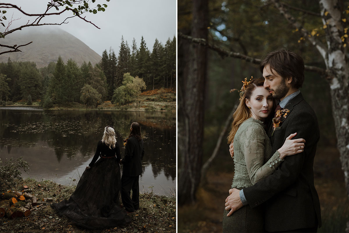 bride-and-groom-dressed-in-black; woman-and-man-cuddling-in-woodland