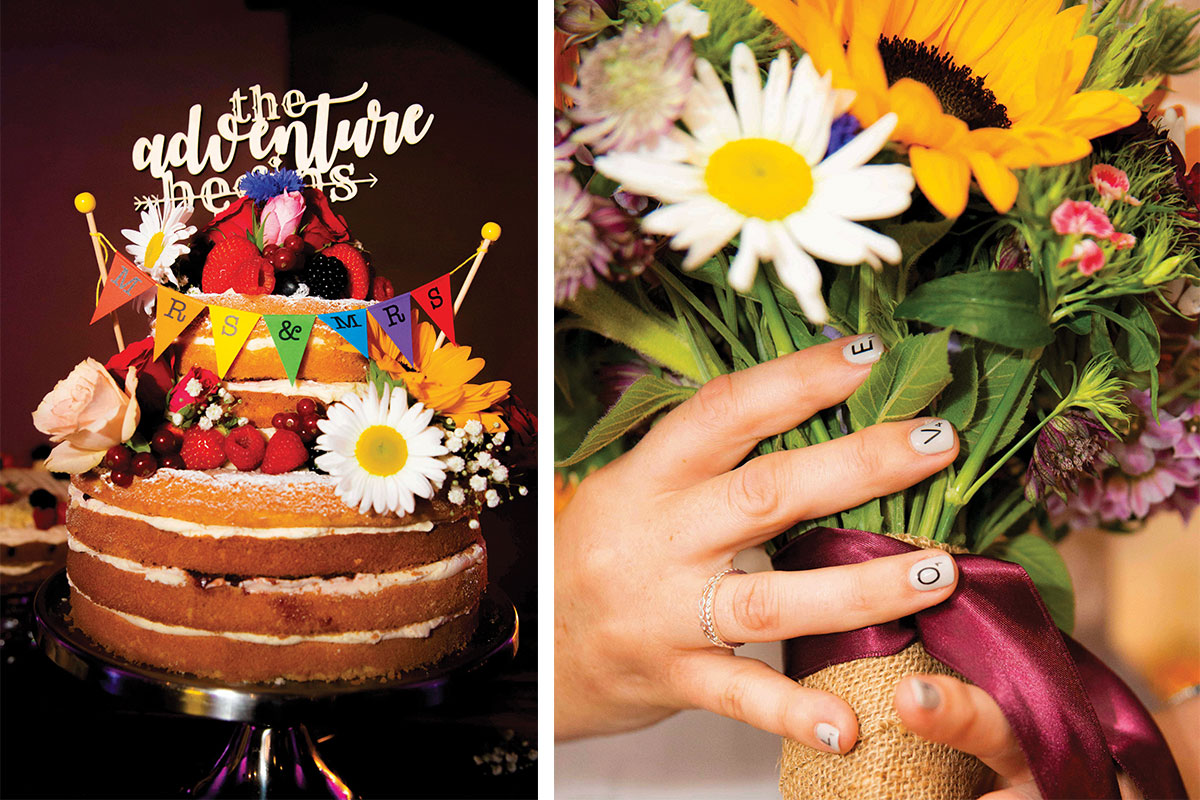 naked-cake-and-bright-flowers-with-wedding-manicure