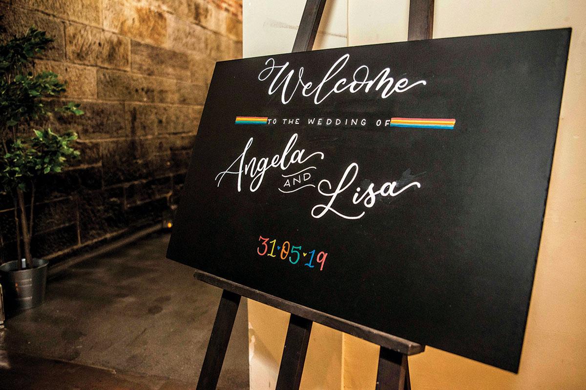 wedding-welcome-chalkboard-sign-with-rainbows