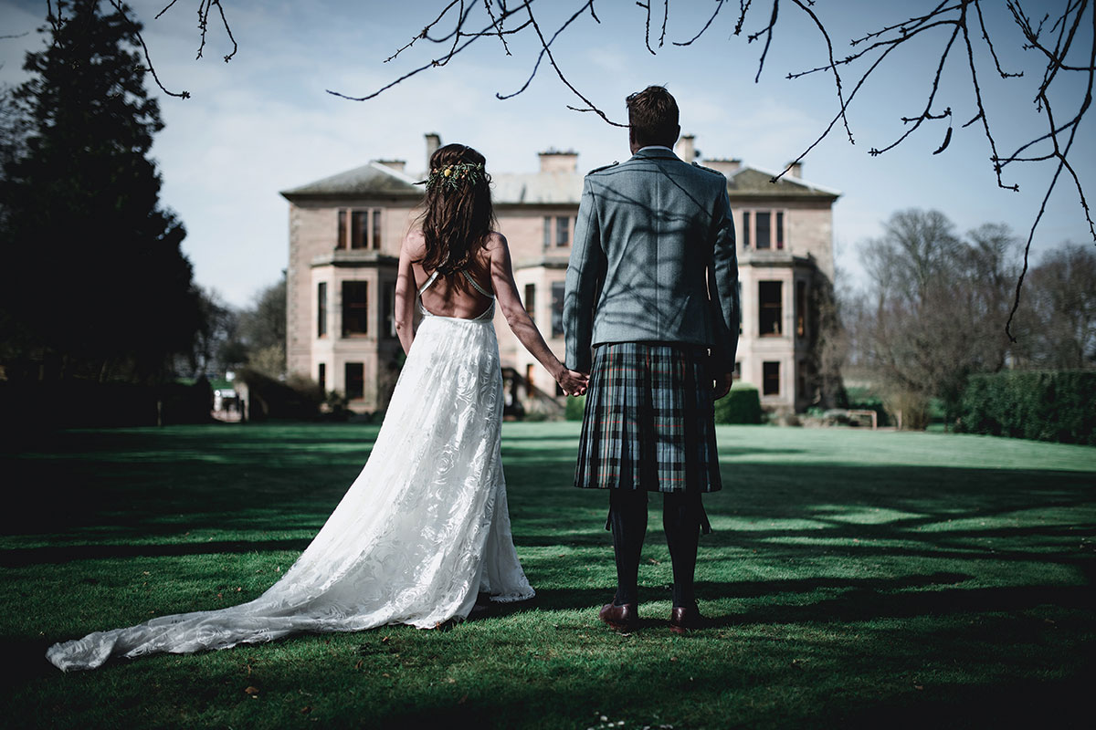 bride-and-groom-on-cambo-house-grounds