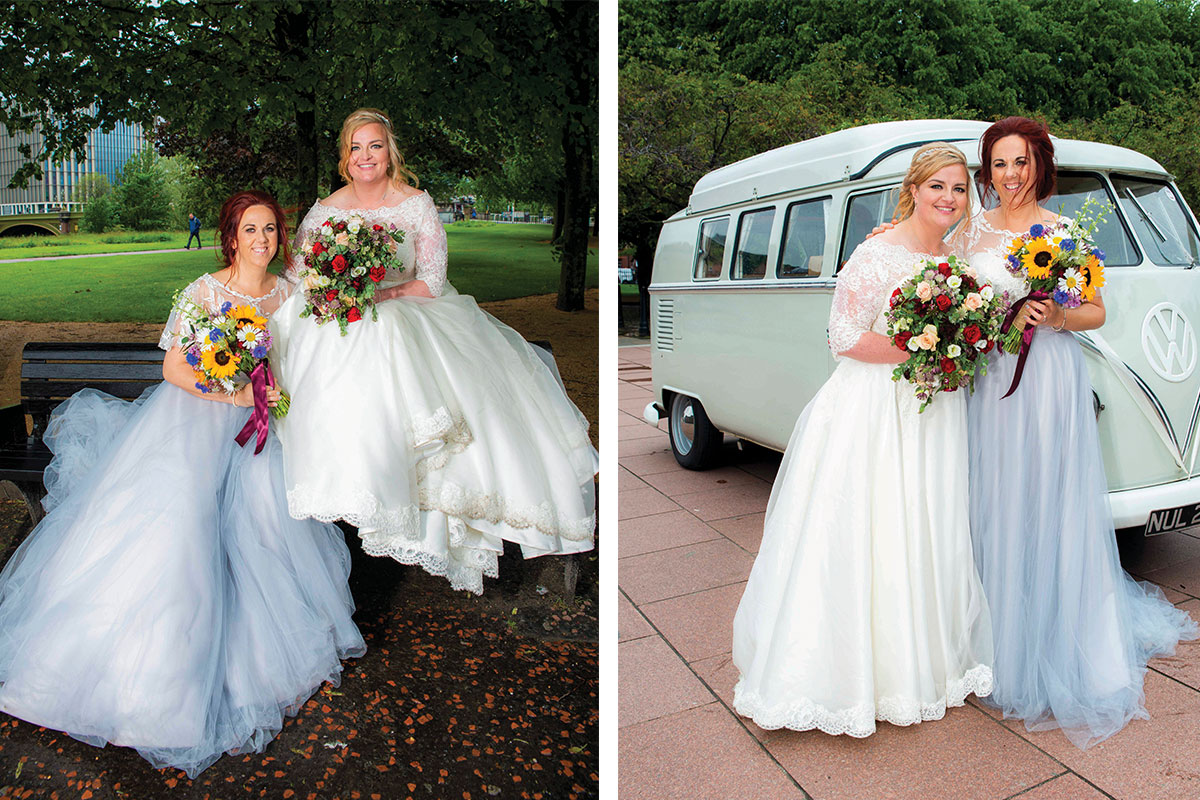 two-brides-in-glasgow-green-with-bright-bridal-bouquets