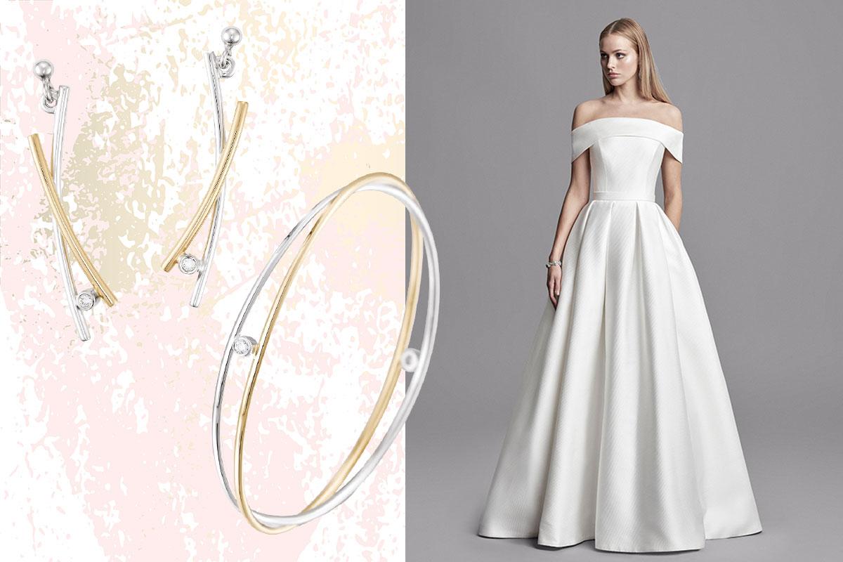 earrings and bangle; woman in wedding dress
