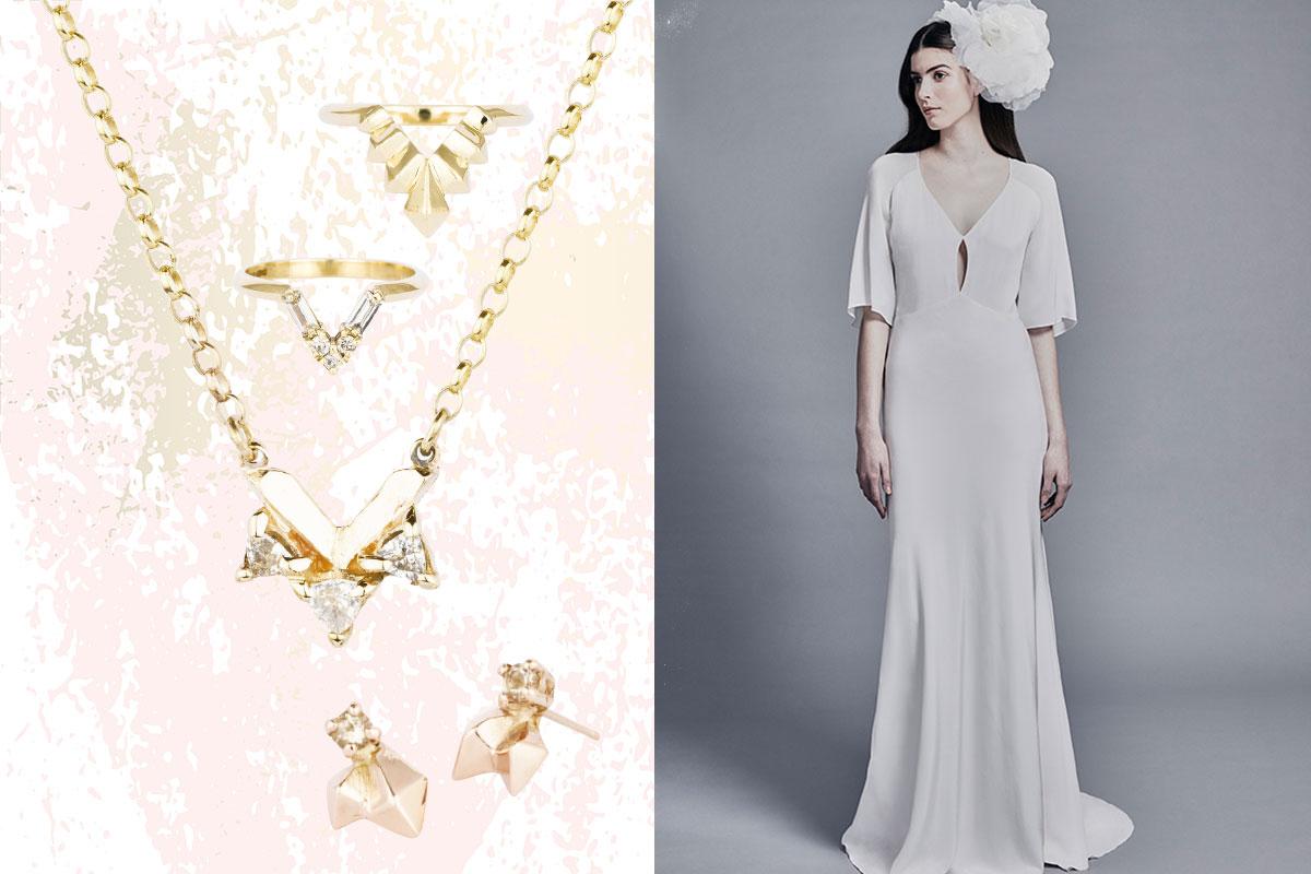 Katie Lees yellow gold jewellery; Charlie Brear wedding dress