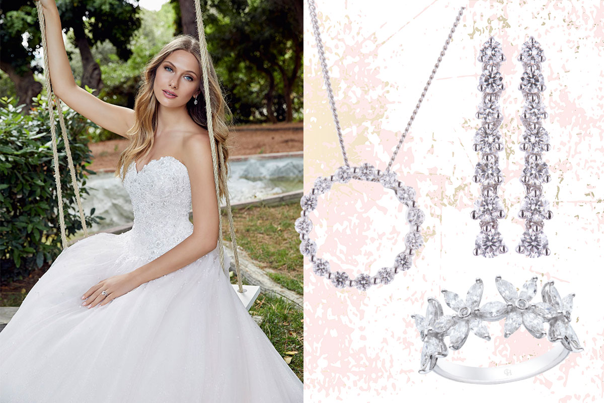 bride on a swing; necklace, ring, earrings