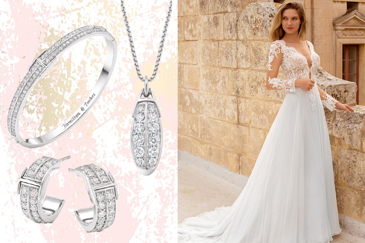platinum and diamond bracelet, pendant and earrings; bride in wedding dress