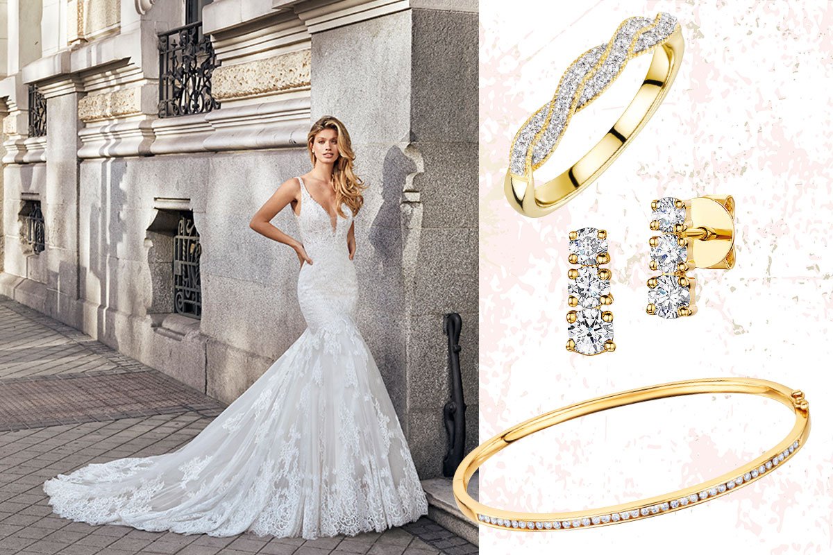 woman in wedding dress; gold and diamond jewellery