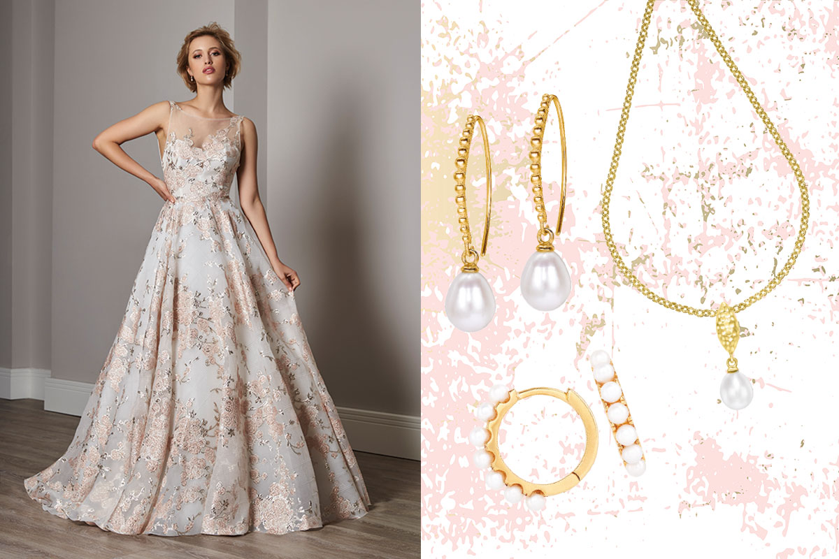 bride in wedding dress; gold earrings and necklace