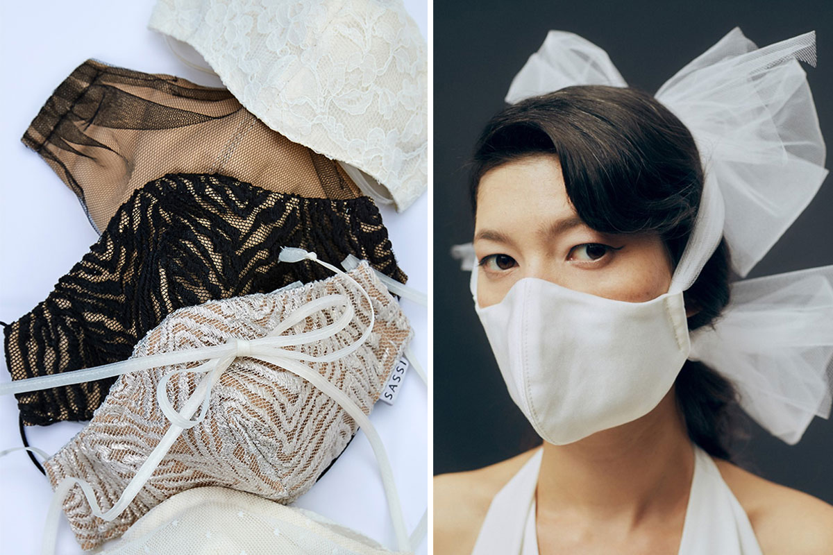 Three face masks; bride wearing face mask