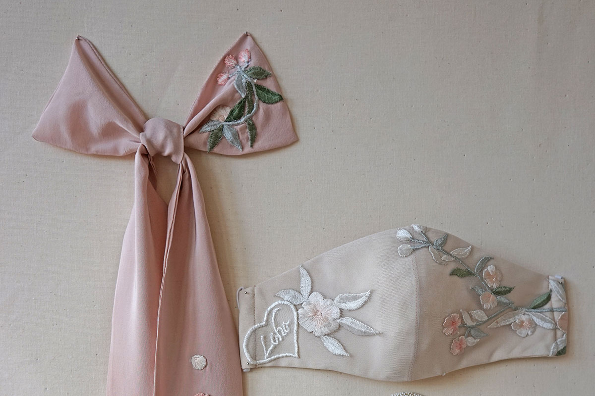 Embroidered bow and bridal face mask