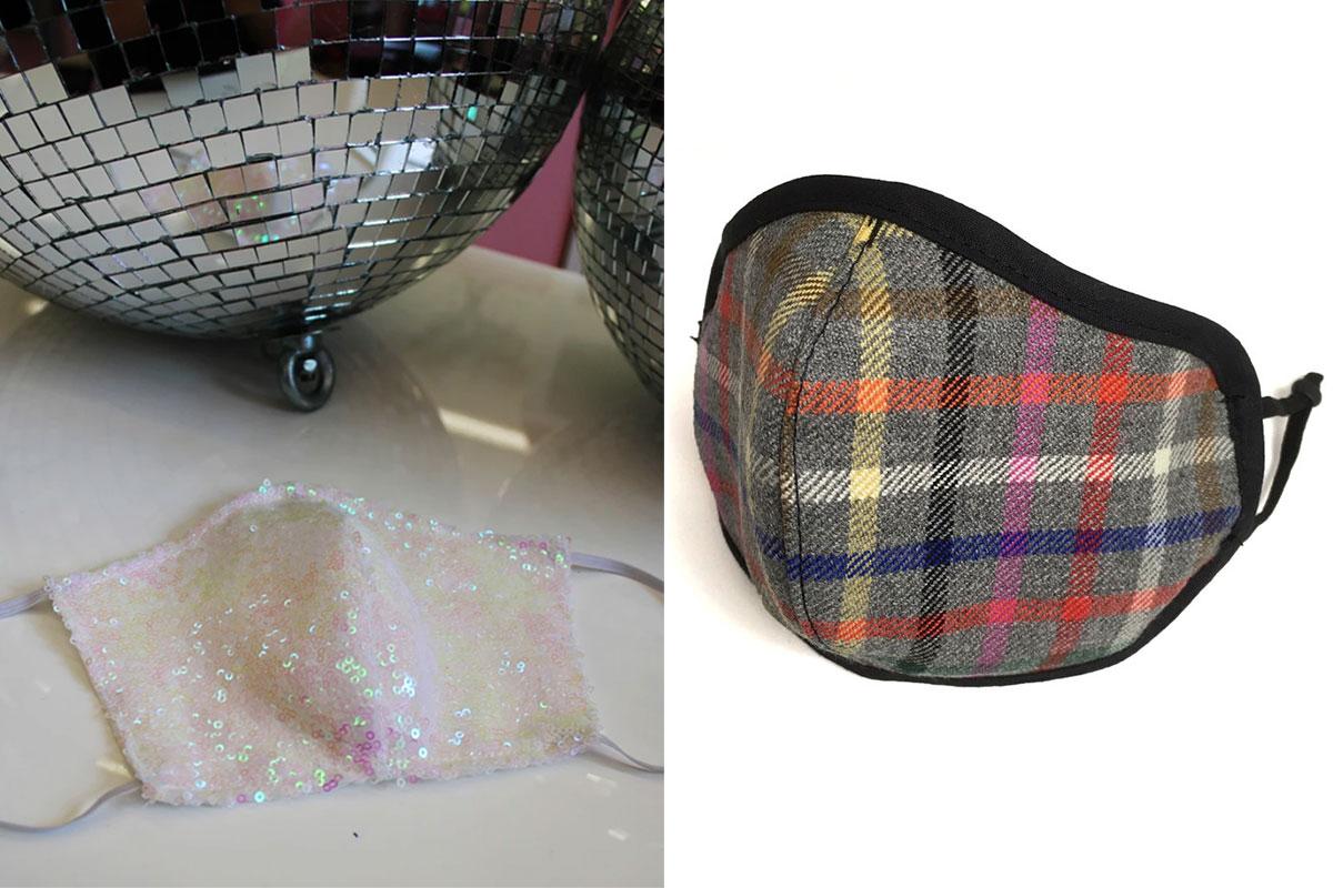 Sequin face mask and tartan face mask