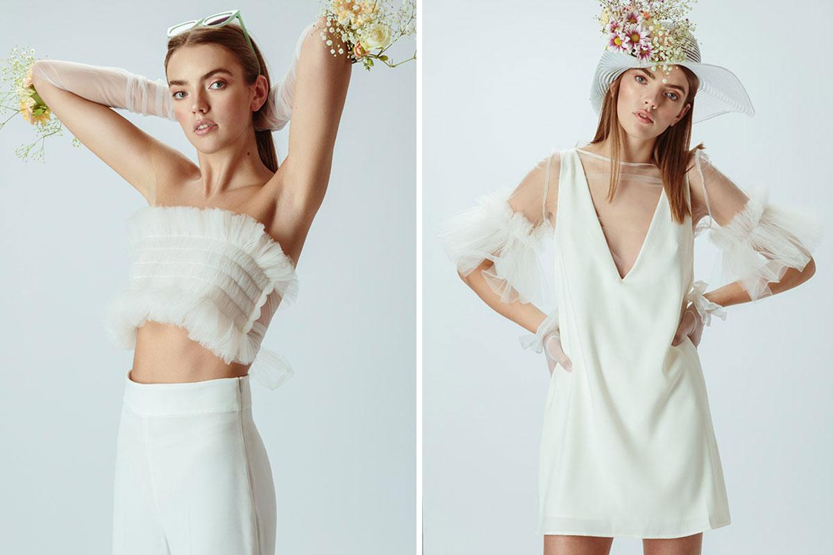 model wearing wedding dresses