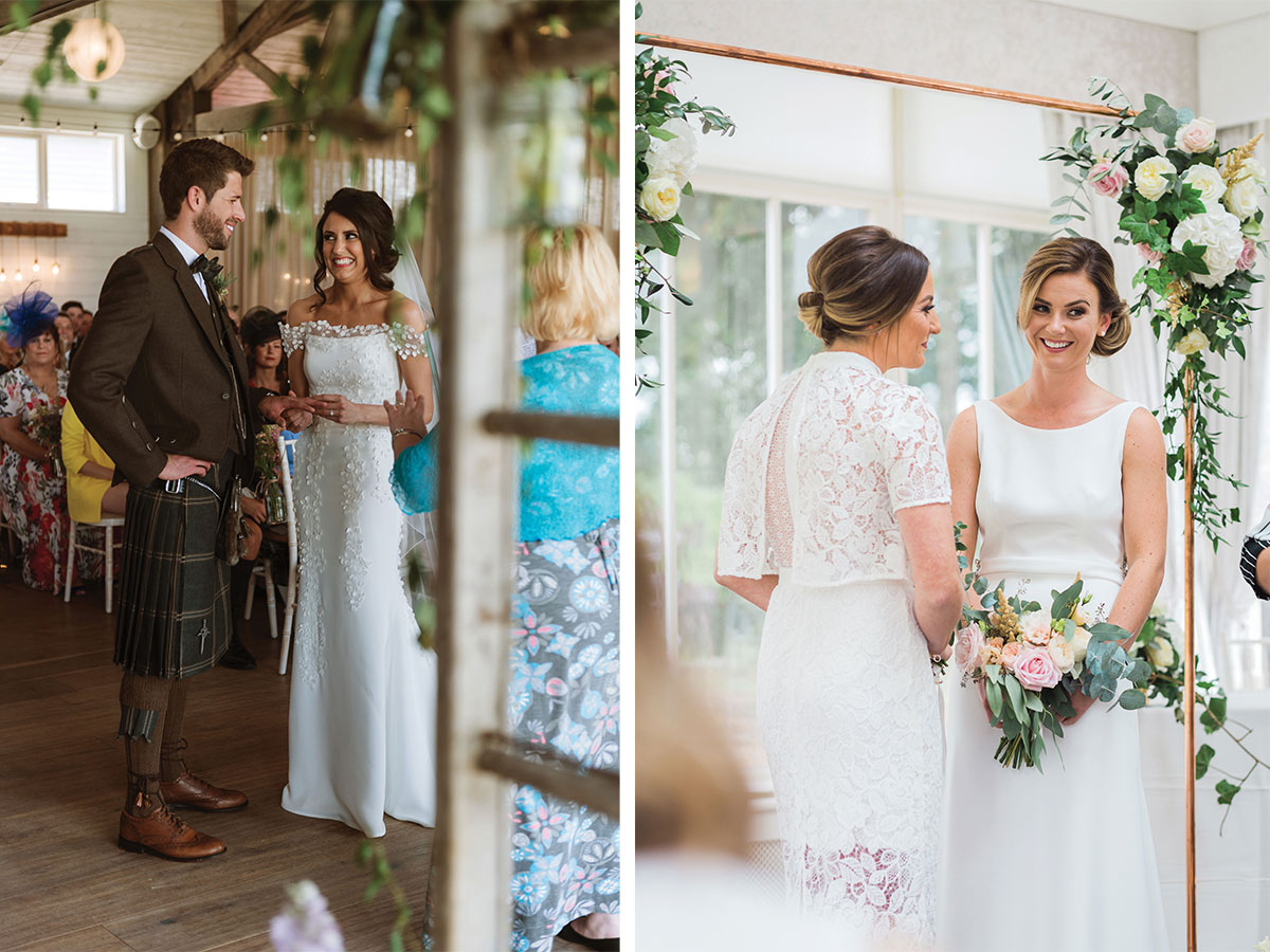 bride-and-groom-in-brown-kilt-outfit-and-two-brides-under-copper-arch