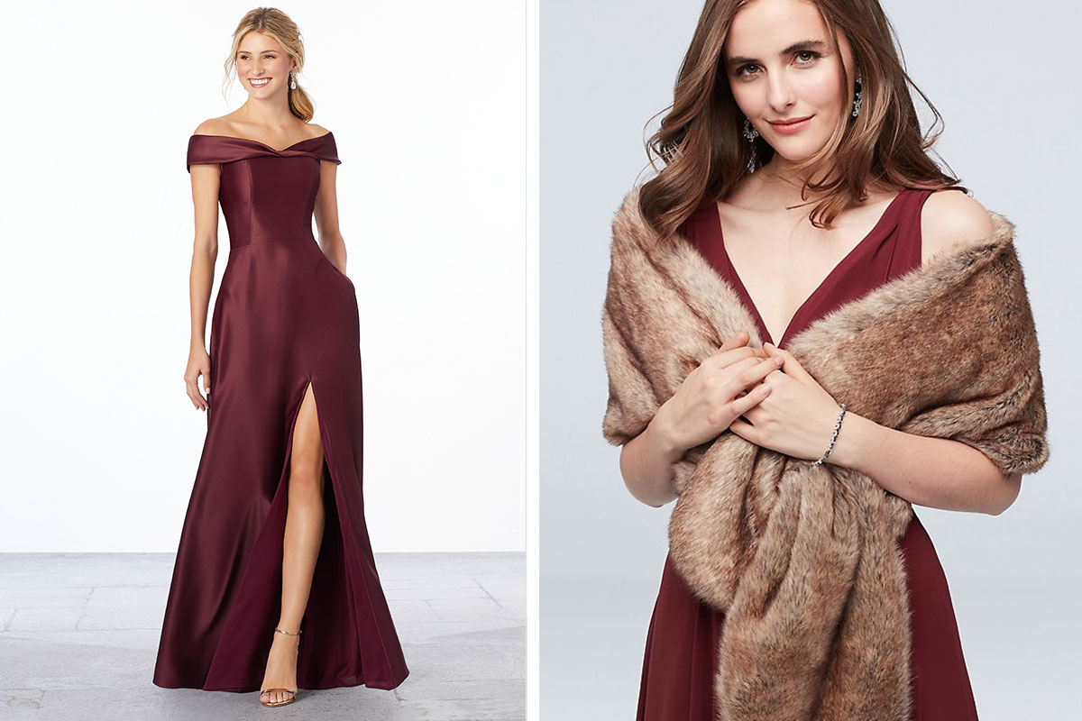 Morilee style 21663 and David's Bridal faux fur stole