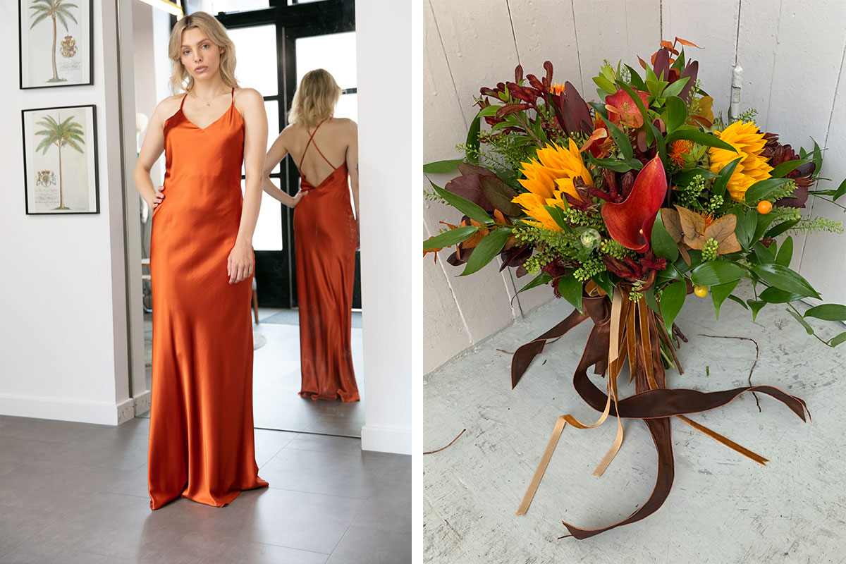Brooklyn dress by Rewritten and The Flower Company bouquet of sunflower, cala lily and mixed foliage