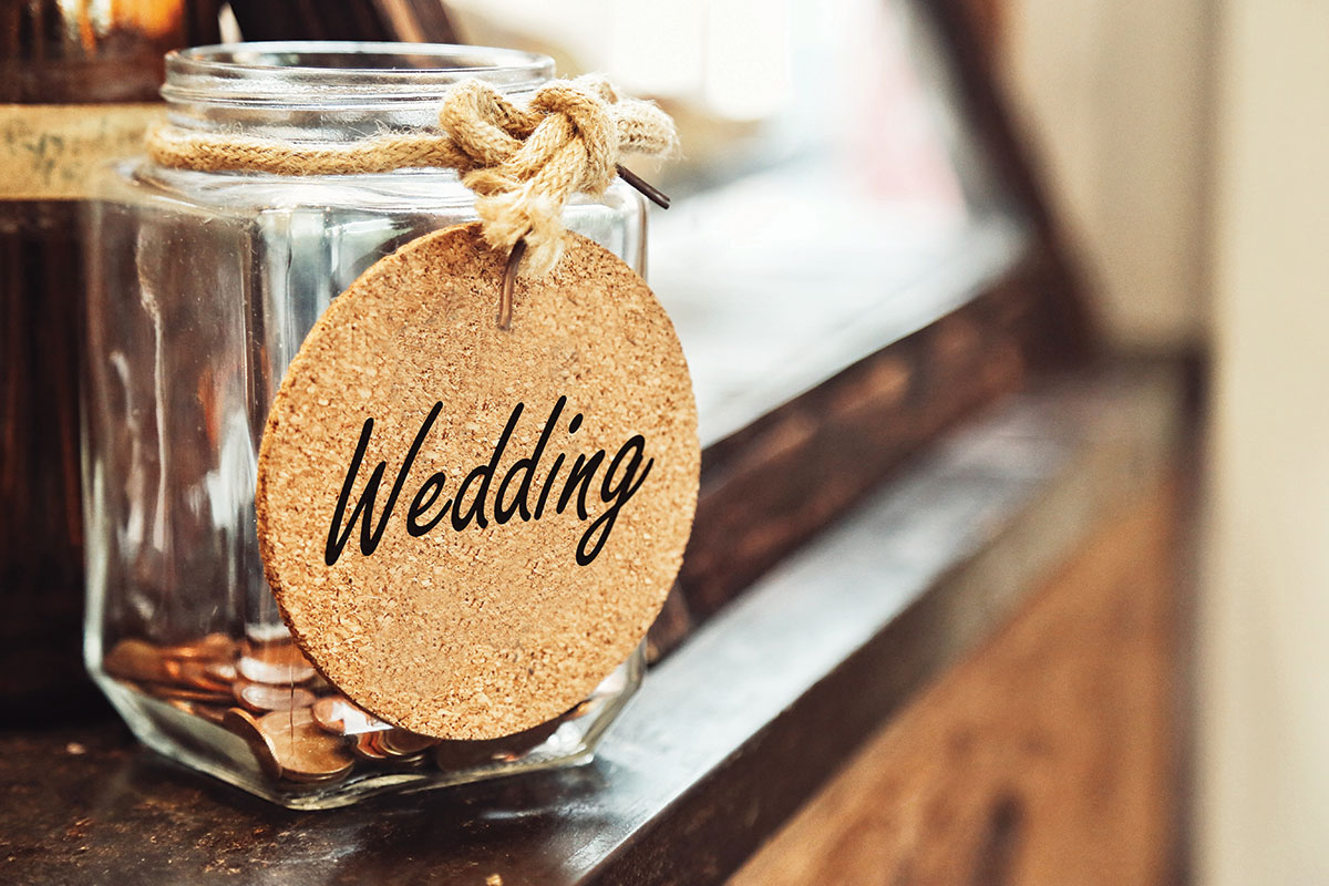 wedding savings jar with cork tag