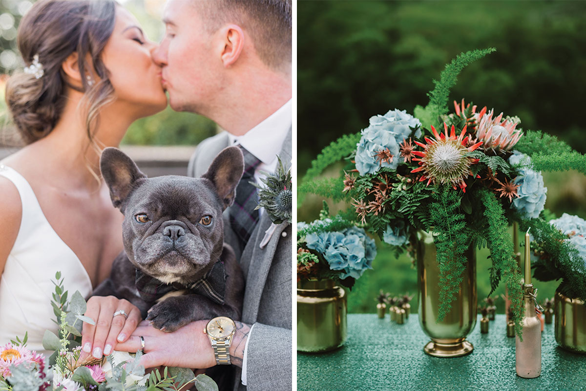 bride and groom with dog; flowers on a table