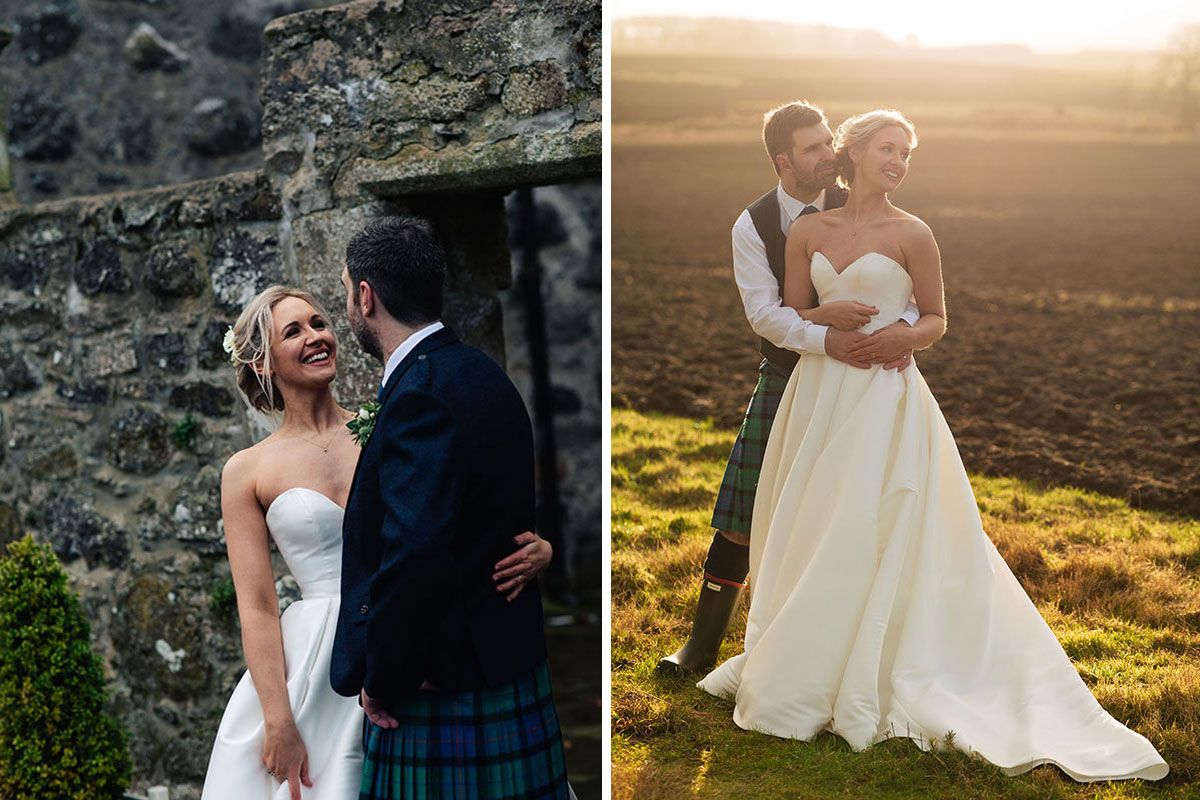 bride-groom-against-wall-and-in-sunset-field