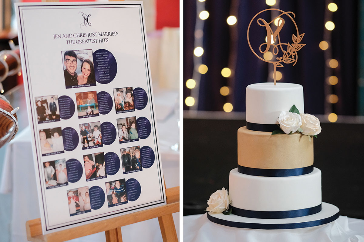 greatest-hits-wedding-table-plan-and-gold-and-navy-wedding-cake