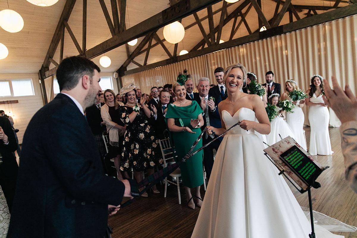 bride-groom-tartan-ribbon-handfasting-ceremony