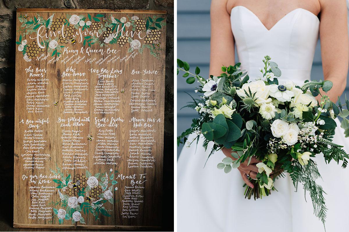 wedding-bee-table-plan-white-bridal-bouquet