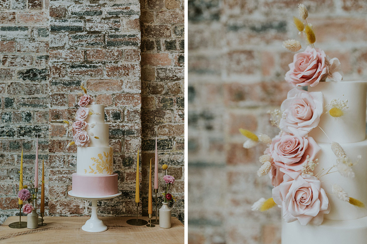 weaving-shed-pink-and-gold-wedding-cake-against-brick-wall