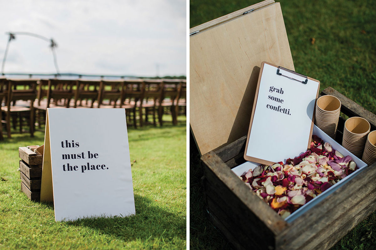 cormiston farm wedding mirrorbox photography this must be the place wedding sign and grab some confetti sign