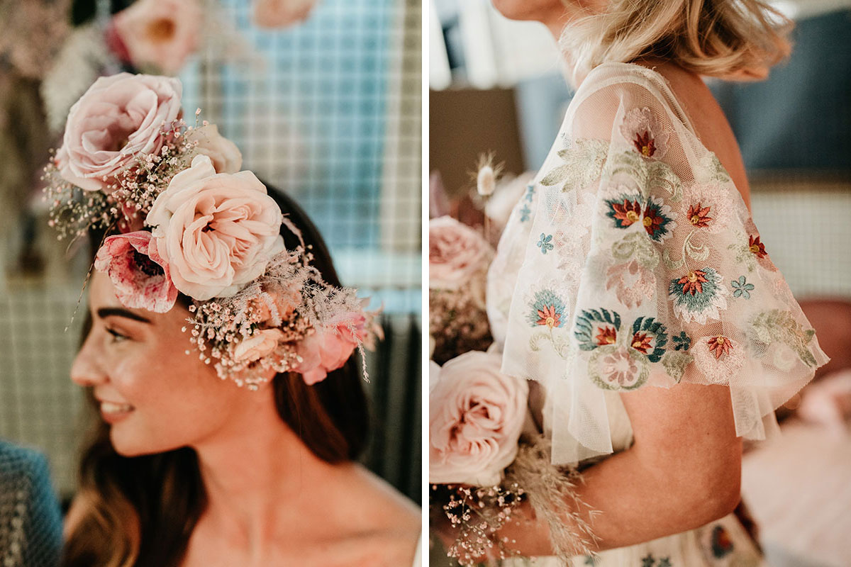 Anatomy Rooms Aberdeen wedding flower in hair by Kim Dalgish and dress by Ivory Grace