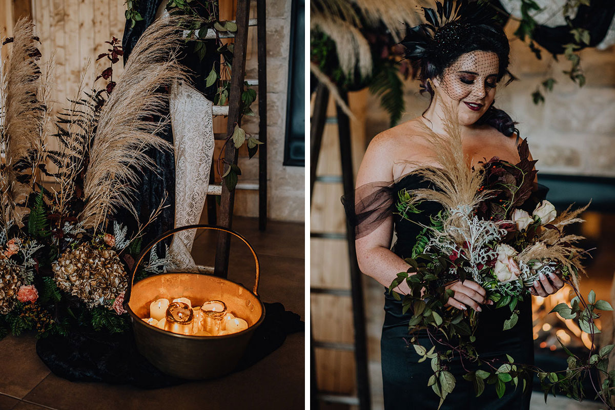 Roodlea-Barn-autumn-gothic-halloween-barn-wedding-styled-flowers-candles-bride-bouquet