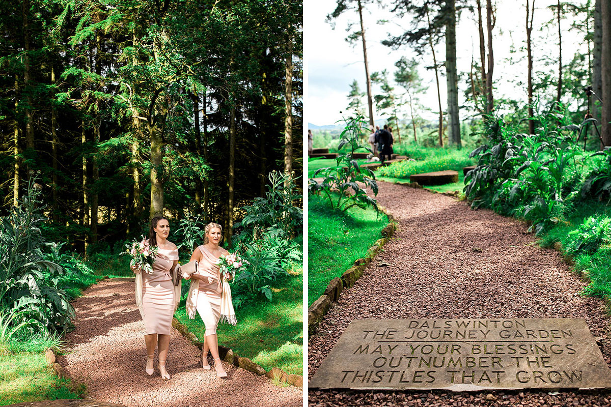 Hemera Visuals Dalswinton wedding bridesmaids and sign on gravel path