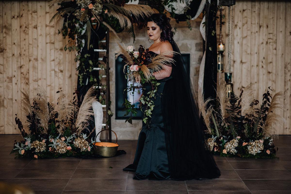 Roodlea-Barn-autumn-gothic-halloween-barn-wedding-bride-black-dress