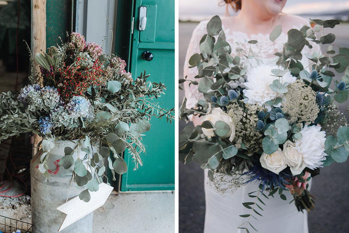wedding-flowers-in-milk-urn-at-oban-airport-bride-holding-bouquet-little-botanica