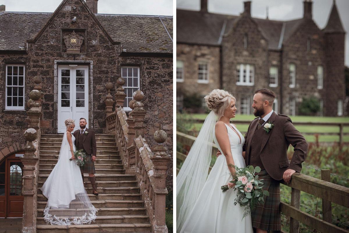 Aboyne Photographics Meldrum House Aberdeen wedding venue bride and groom outside