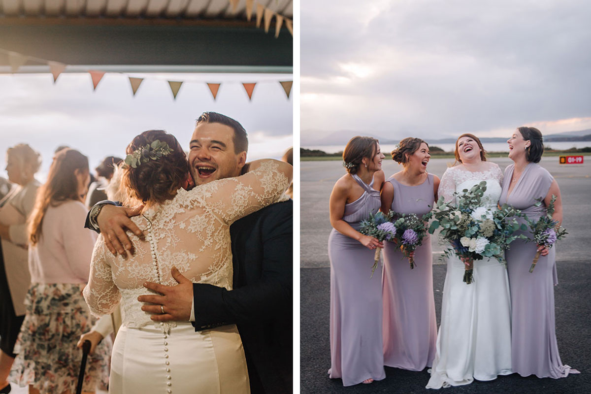 bride-hugging-guest-oban-airport-bride-with-bridesmaids-laughing-oban-airport