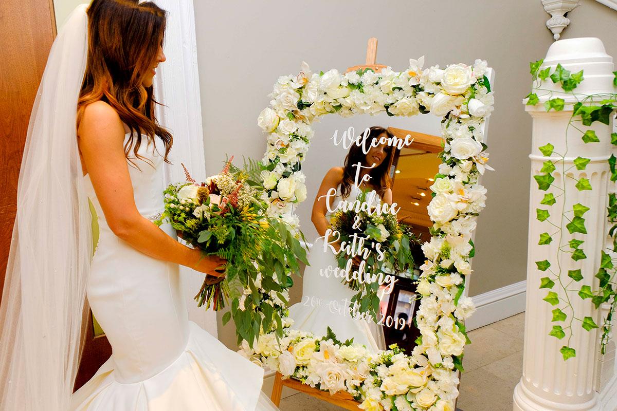 bride-floral-welcome-frame-apex-hotel