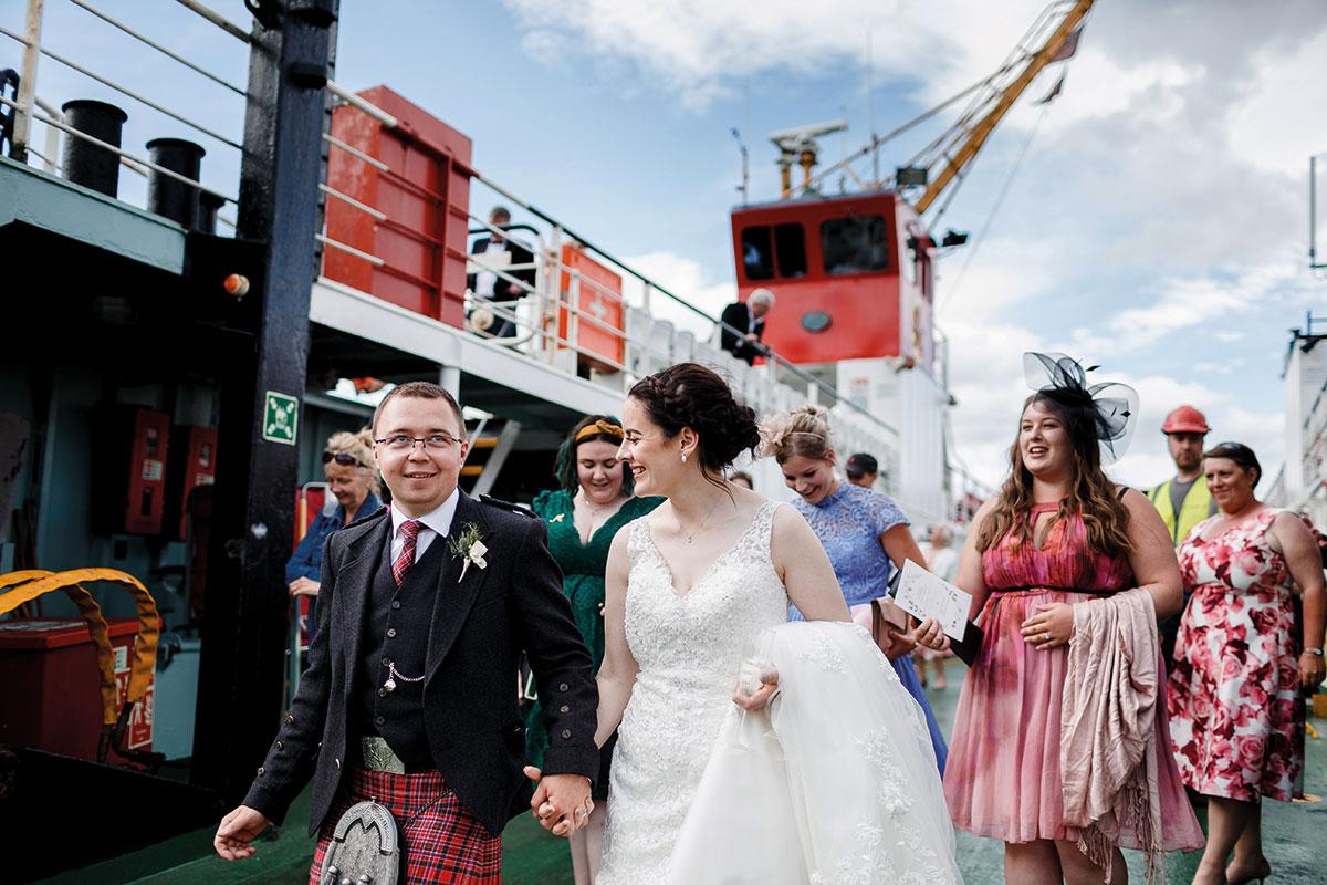 Isle-of-Lismore-Wedding-Photography-Barry-Robb-bride-groom-on-ferry