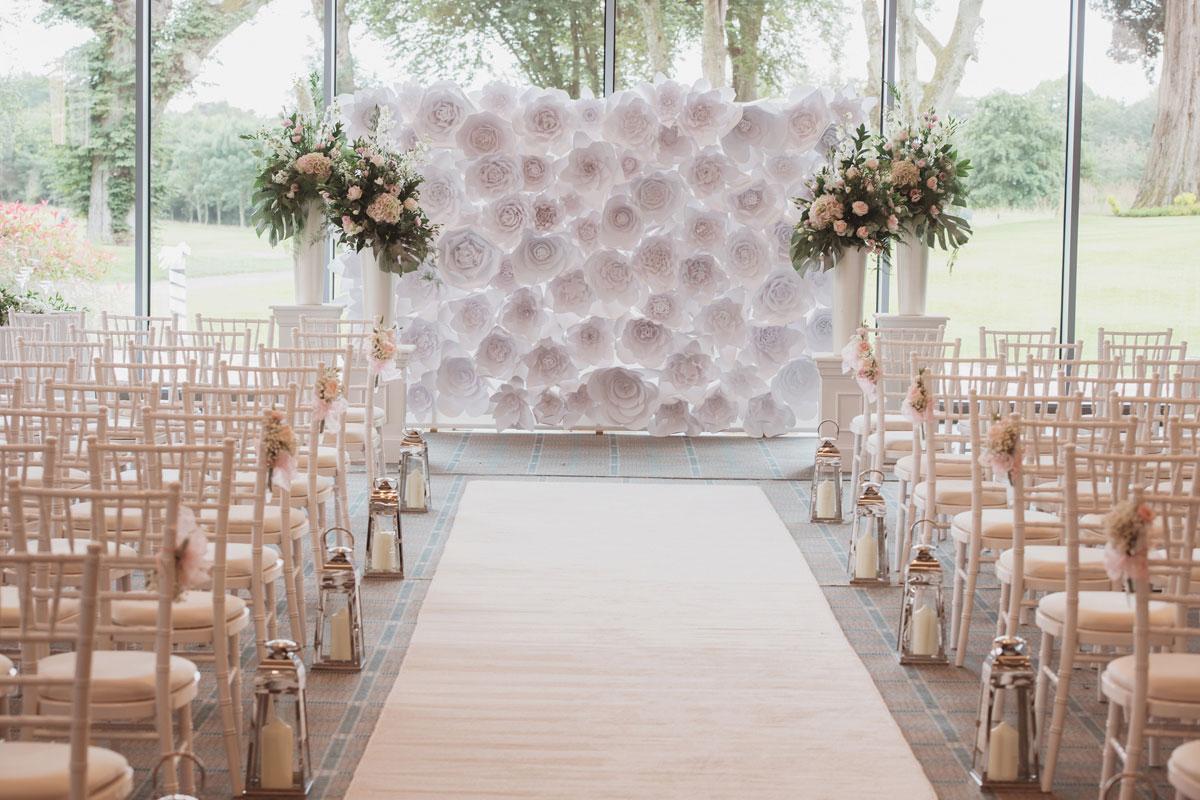Aboyne Photographics Meldrum House Aberdeen wedding venue paper flower wall wedding ceremony
