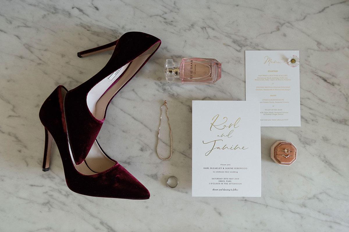 dark-red-velvet-shoes-perfume-wedding-invites