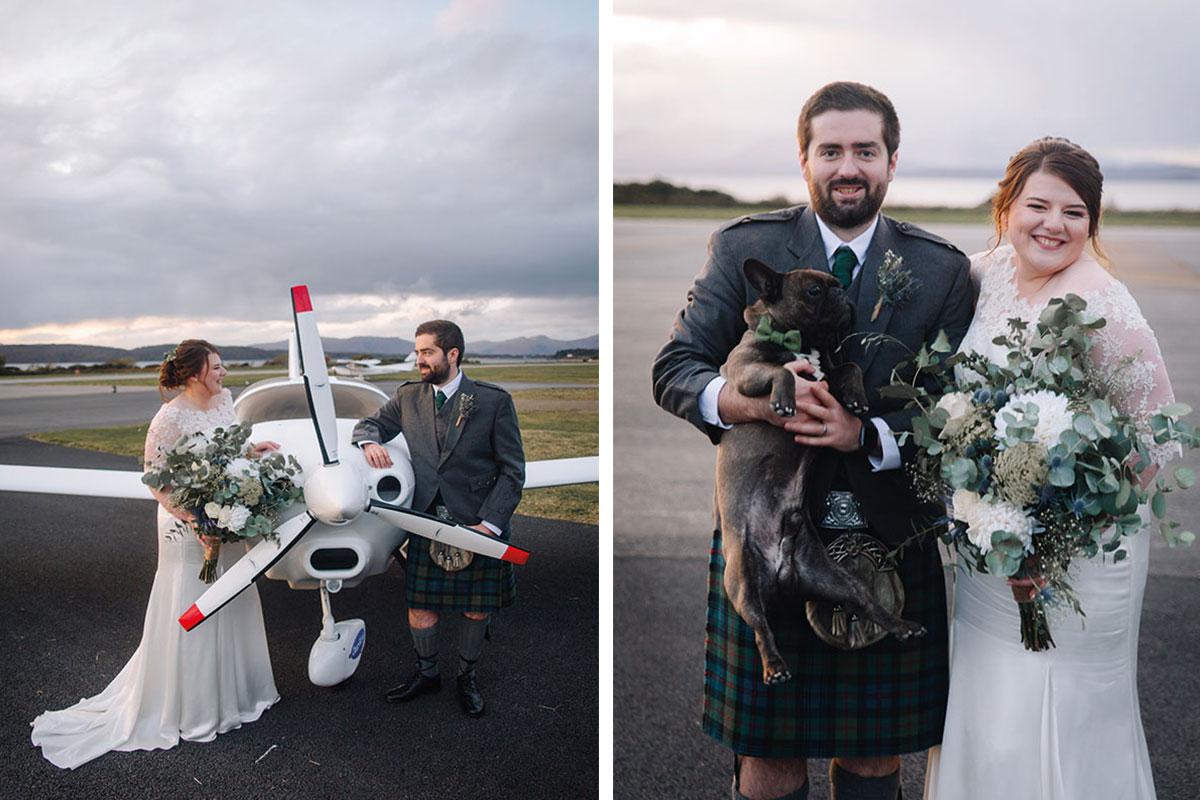 bride-groom-with-aeroplane-oban-airport-bride-groom-with-dog-oban-airport