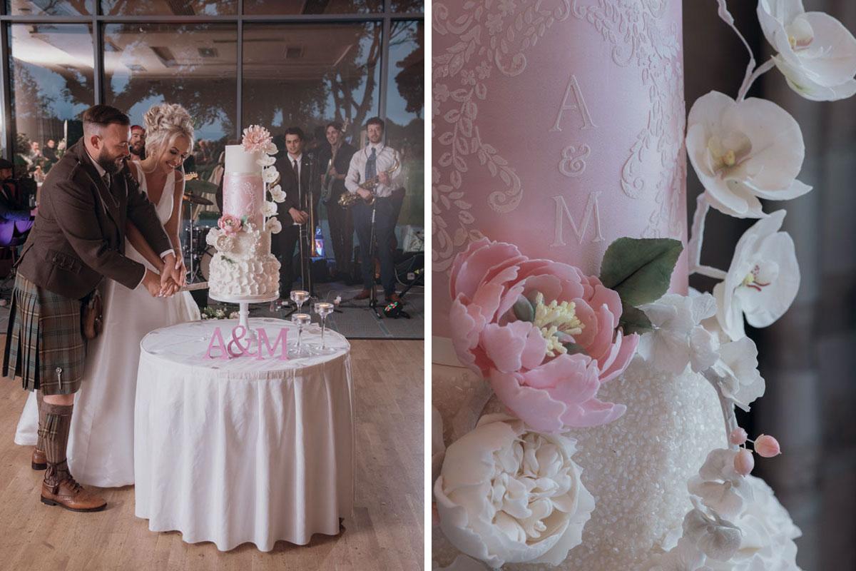 Aboyne Photographics Meldrum House Aberdeen wedding venue bride groom cutting cake close up of cake