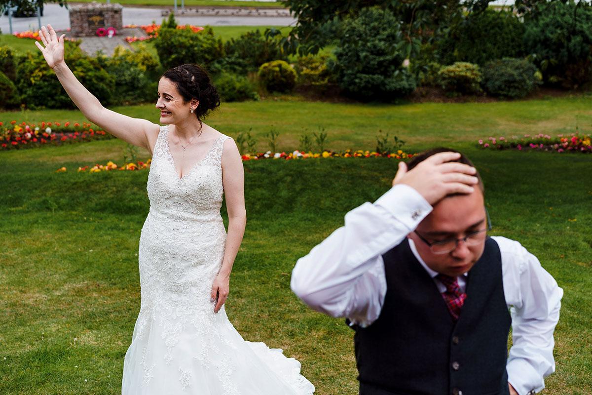 Isle-of-Lismore-Wedding-Photography-Barry-Robb-Oban-bride-groom-outside-Corran-Halls-wedding